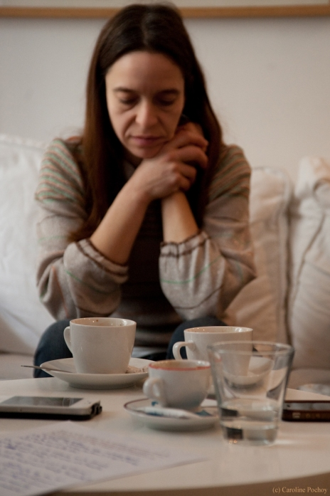 """Olga Goreas lors de l'interview de """"the Besnard Lakes"""" pour le Grogstore. (c) Caroline Pochoy"""