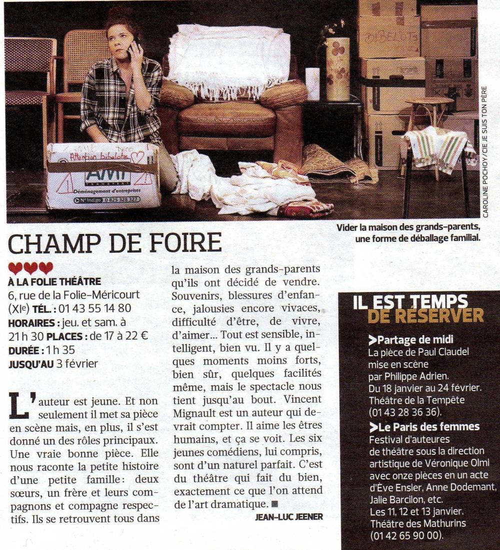 """Critique """"Un champ de Foire"""" dans le Figaroscope du 9 janvier 2013"""