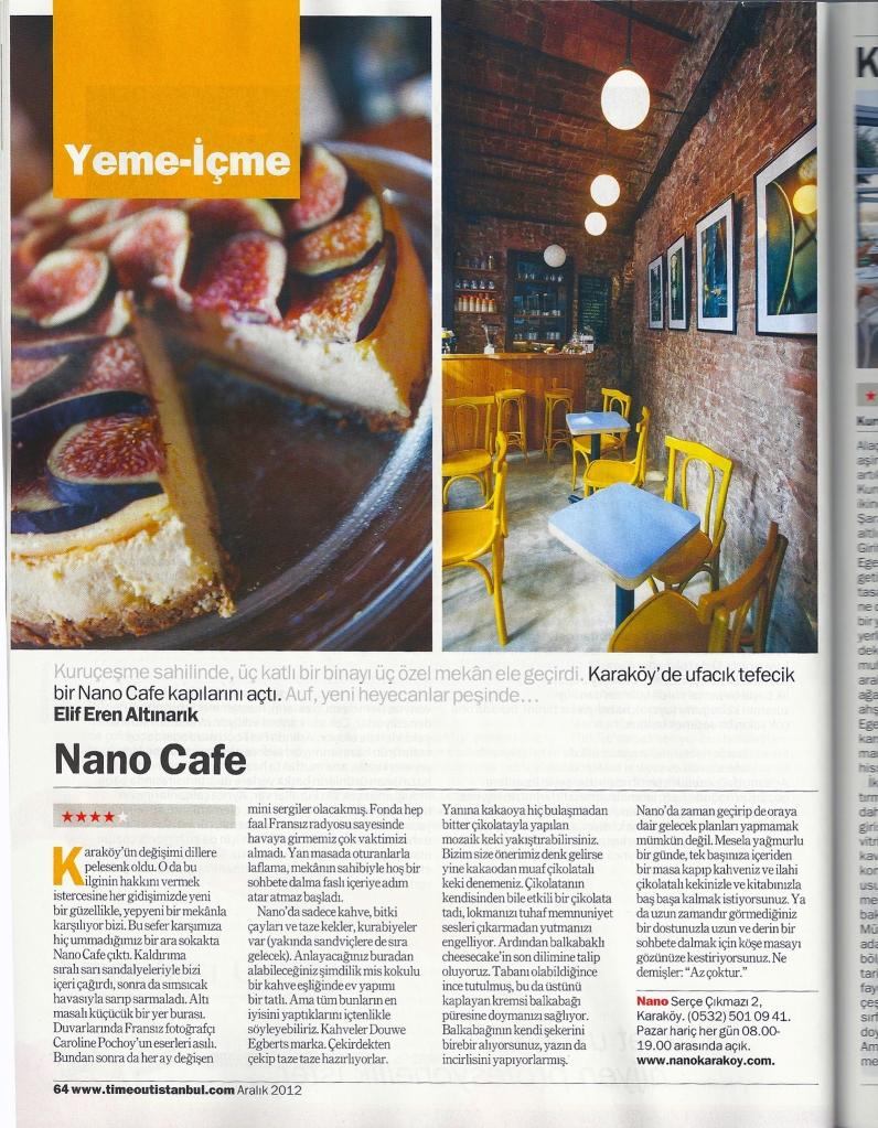 Pleine page sur le Nano Cafe dans Time Out Istanbul.